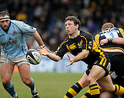 Wycombe, GREAT BRITAIN, Simon AMOR, plays the ball out, during the Guinness Premiership match, London Wasps vs Bristol Rugby, played at the Adams Park Stadium, on Sat. 23rd Feb 2008.  [Mandatory Credit, Peter Spurrier/Intersport-images]
