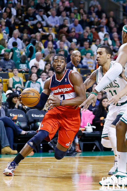 07 April 2013: Washington Wizards point guard John Wall (2) drives past Boston Celtics shooting guard Courtney Lee (11) during the Boston Celtics 107-96 victory over the Washington Wizards at the TD Garden, Boston, Massachusetts, USA.