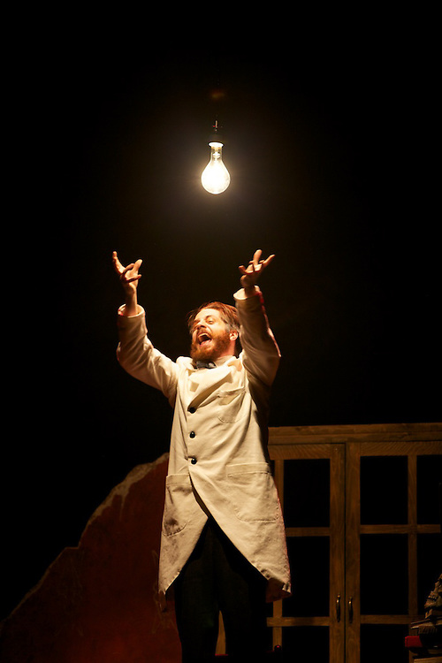 """Doctor Faustus Lights the Lights was written in 1938 by Gertrude Stein, a highly-experimental modernist playwright and poet. In this play, Stein dramatizes the archetypal modernist myth of man's uneasy relationship with technology. Faustus sells his soul to gain the knowledge to create """"white electric light"""". In opposition, he is confronted by the competing female-gendered perspective(s) of multiple women...Written by Gertrude Stein, directed by Nathalie Claude"""