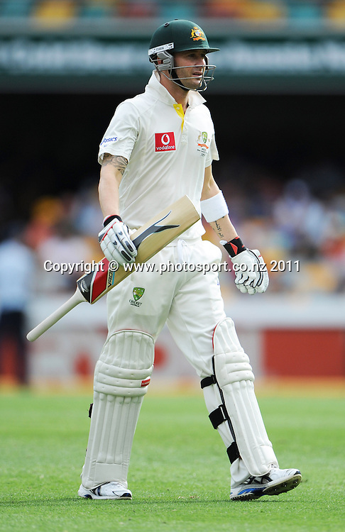 Australian captain Michael Clarke heads back to the dressing roon after being bowled by Doug Bracewell but not out after a no ball on Day 2 of the first cricket test between Australia and New Zealand Black Caps at the Gabba in Brisbane, Thursday 1 December 2011. Photo: Andrew Cornaga/Photosport.co.nz