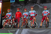 The Team Katusha–Alpecin riders on stage for presentation ahead of the start of the first stage of the Tour de Yorkshire from Doncaster to Selby, Doncaster, United Kingdom on 2 May 2019.