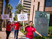 12 SEPTEMBER 2012 - PHOENIX, AZ:  Members of the Communications Workers of America (CWA) Local 7019 picket the CenturyLink offices in Phoenix. About 100 members of the CWA picketed the CenturyLink (formerly Qwest) offices Wednesday. The CWA and CenturyLink entered contract negotiations on August 15. The negotiations cover more than 15,000 workers across the western United States. Key issues include outsourcing and proposed cuts to retiree health benefits.    PHOTO BY JACK KURTZ