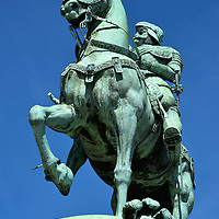 Charles IX Equestrian Statue in Gothenburg, Sweden <br /> In 1904, this monument by sculptor John B&ouml;rjeson was erected at Kungsportsplatsen.  It portrays Charles IX who was the King of Sweden from 1604 until 1611. The statue portrays him in armor primarily because his short reign was plaque with battles among his relatives in the House of Vasa over rulership plus aditional wars against Poland, Russia and Denmark.  Frankly, Karl IX may be best remembered as the youngest son of Gustav I, the founder of modern Sweden, and as the father of Gustavus Adolphus who was one of Europe&rsquo;s best military commanders and the founder of Gothenburg.