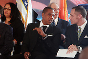 11 March 2010- New York, NY- l to r: Jay-Z and Guest at the Ground Breaking Ceromony for the Barclay Center held at The Atlantic Yards, which will be the future home for the Brooklyn Nets on March 11, 2010 in Brooklyn New York. Photo Credit: Terrence Jennings