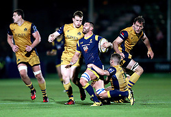 Matt Cox of Worcester Warriors is tackled - Mandatory by-line: Robbie Stephenson/JMP - 04/11/2016 - RUGBY - Sixways Stadium - Worcester, England - Worcester Warriors v Bristol Rugby - Anglo Welsh Cup