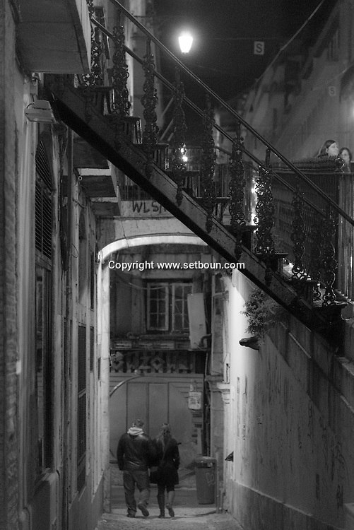 Portugal. Lisbon. Cais do sodre district at night