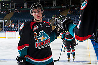 KELOWNA, CANADA - SEPTEMBER 5: Konrad Belcourt #5 of the Kelowna Rockets celebrates a goal against the Kamloops Blazers on September 5, 2017 at Prospera Place in Kelowna, British Columbia, Canada.  (Photo by Marissa Baecker/Shoot the Breeze)  *** Local Caption ***