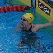 Marieke Guehrer, Australia, winning the Women's 50m Butterfly event at the World Swimming Championships in Rome on Saturday, August 01, 2009. Photo Tim Clayton.