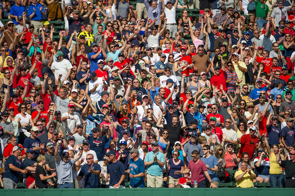 BOSTON, MA - JUNE 09:  Fans cheer on the teams during the game between the Boston Red Sox and the Los Angeles Angels at Fenway Park in Boston, Massachusetts on June 9, 2013. (Photo by Rob Tringali) *** Local Caption ***