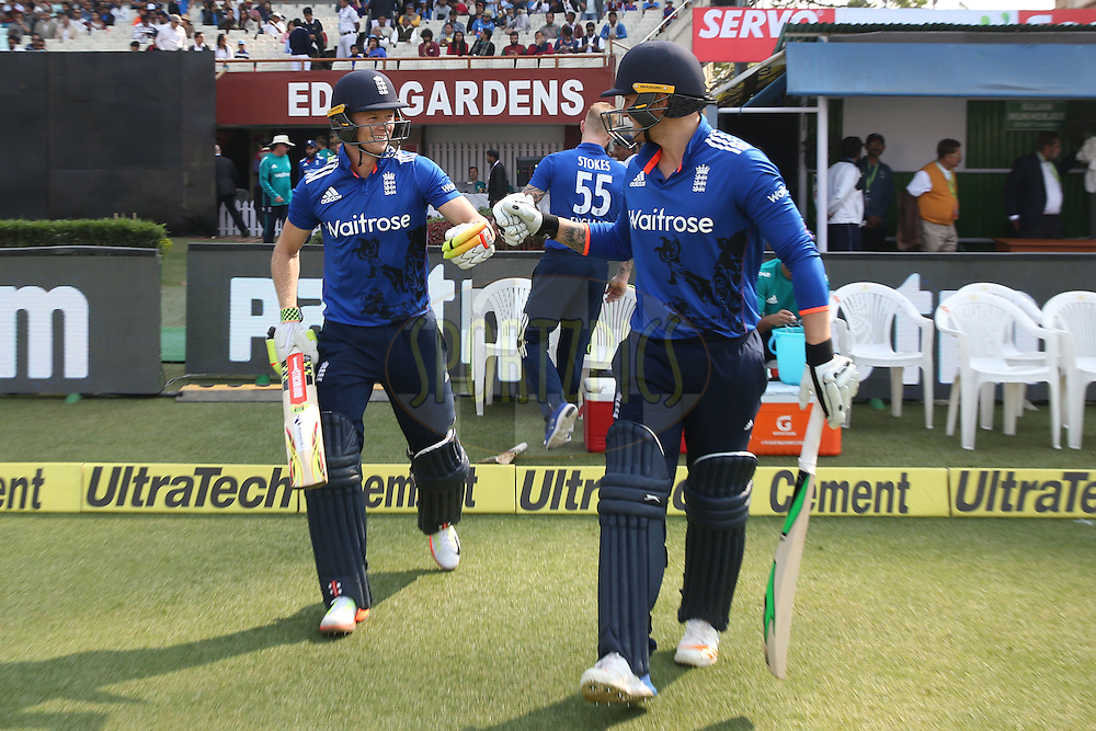 Sam Billings of England and Jason Roy of England enters to field during the third One Day International (ODI) between India and England  held at Eden Gardens in Kolkata on the 22nd January 2017<br /> <br /> Photo by: Deepak Malik/ BCCI/ SPORTZPICS
