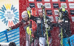 10.02.2017, St. Moritz, SUI, FIS Weltmeisterschaften Ski Alpin, St. Moritz 2017, alpine Kombination, Damen, Slalom, im Bild v.l. Michaela Kirchgasser (AUT, Bronzemedaille Alpine Kombination der Damen), Wendy Holdener (SUI, Weltmeister und Goldmedaille Alpine Kombination der Damen), Denise Feierabend (SUI) // f.l. ladie's Alpin Combined bronze medalist Michaela Kirchgasser of Austria ladie's Alpin Combined Goldmedalist and World Champion Wendy Holdener of Switzerland Denise Feierabend of Switzerland on the leaderboard during Slalom competition for the ladie's Alpine combination of the FIS Ski World Championships 2017. St. Moritz, Switzerland on 2017/02/10. EXPA Pictures © 2017, PhotoCredit: EXPA/ Johann Groder