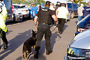 Charlton Athletic fans cause trouble outside the ground  and a police dog is called in to help during the EFL Sky Bet League 1 Play Off second leg match between Shrewsbury Town and Charlton Athletic at Greenhous Meadow, Shrewsbury, England on 13 May 2018. Picture by Simon Davies.