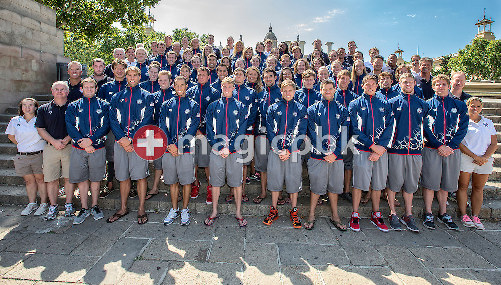 The US swim team poses for a photo during the 15th FINA World Aquatics Championships at the Palau Sant Jordi in Barcelona, Spain, Friday, July 26, 2013. (Photo by Patrick B. Kraemer / MAGICPBK)
