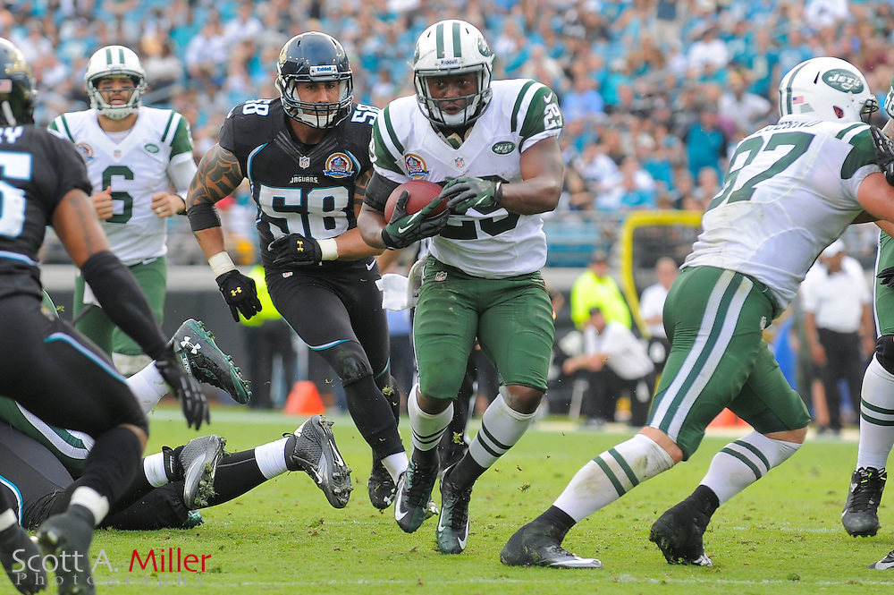 New York Jets running back Bilal Powell (29) runs upfield during an NFL game against the Jacksonville Jaguars at EverBank Field on Dec 9, 2012 in Jacksonville, Florida. The Jets won 17-10....©2012 Scott A. Miller..