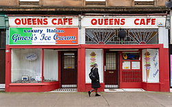 Glasgow, Scotland, UK. 3 April, 2020. Images from the south side of Glasgow at the end of the second week of Coronavirus lockdown. Queens Cafe on Victoria Road in Govanhill is closed.  Iain Masterton/Alamy Live News