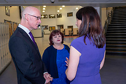 Pictured: John Swinney, Head teacher Loranie Legix and Joan Daly deputy principal<br /><br />The Deputy First Minister visited Holy Rood High School in Edinburgh today to meet parents and pupils before announcing GBP50 million funding for improving attainment.  The results of a survey of headteachers were also published during the Deputy First Minister's visit.<br /><br /> Ger Harley | EEm 30 May 2019