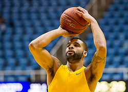 Jan 12, 2016; Morgantown, WV, USA; West Virginia Mountaineers guard Jaysean Paige (5) warms up prior to their game against the Kansas Jayhawks at the WVU Coliseum. Mandatory Credit: Ben Queen-USA TODAY Sports