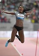 Caterine Ibarguen (COL) wins the women's long jump at 22-2 1/4 (6.76m)  during the IAAF Doha Diamond League 2019 at Khalifa International Stadium, Friday, May 3, 2019, in Doha, Qatar
