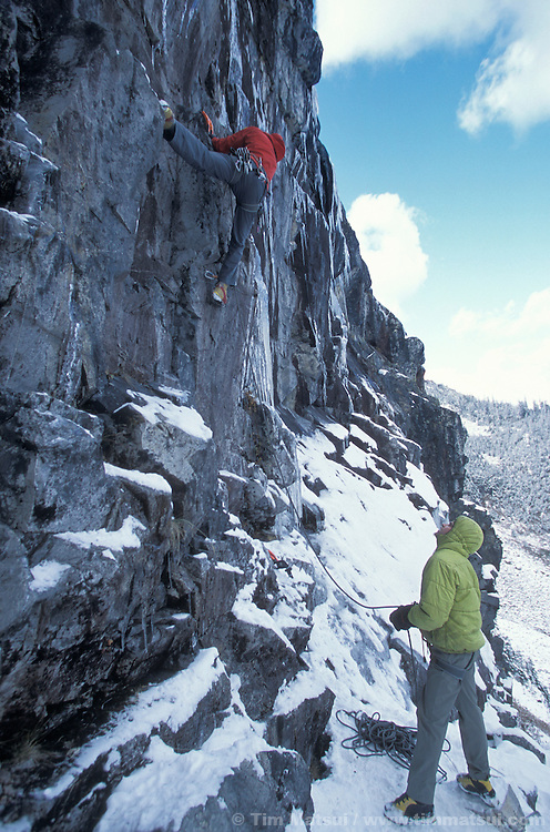 Sean Isaac and Roger Strong on Rizzla', an M7+ put up by Strong in the Alpental valley at Snoqualmie Pass, Washington.