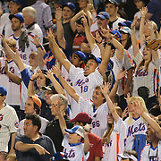 NEW YORK, NEW YORK - May 27:  New York Mets fans during a tee shirt toss into the crowd during the Los Angeles Dodgers Vs New York Mets regular season MLB game at Citi Field on May 27, 2016 in New York City. (Photo by Tim Clayton/Corbis via Getty Images)