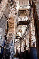 Looking up inside the outer wall at the amazing architectural detail of the Coliseum in Arles, France.