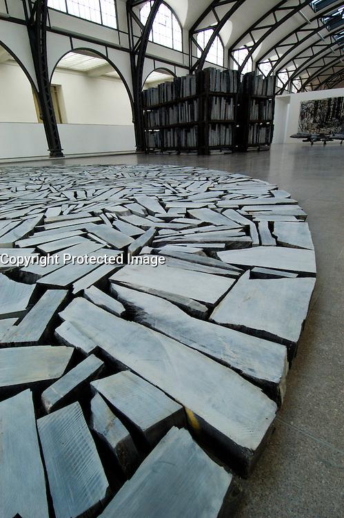Modern art sculpture inside Gemaldegalerie in Berlin Germany