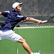 Hong Pei Lu of Juan Diego hits the ball back to Jordan Lyden, of Desert Hills. Lyden went on to  win the state 3A tennis singles championship defeating Lu at the BYU Tennis courts in Provo, Utah, Saturday, May 15, 2010 . August Miller, Deseret News .