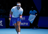 Tennis - 2019 Nitto ATP Finals at The O2 - Day Six<br /> <br /> Singles Group Andre Agassi: Rafael Nadal (Spain) Vs. Stefanos Tsitsipas (Greece)<br /> <br /> Rafael Nadal (Spain) celebrates as closes in on victory <br /> <br /> COLORSPORT/DANIEL BEARHAM<br /> <br /> COLORSPORT/DANIEL BEARHAM