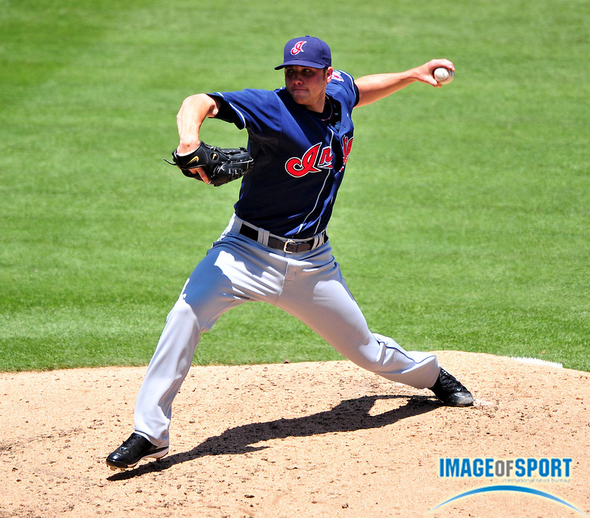Jul 23, 2008; Anaheim, CA, USA; Cleveland Indians starter Aaron Laffey (32) pitches during the 14-11 loss to the Los Angeles Angels at Angel Stadium. Mandatory Credit: Kirby Lee/Image of Sport-US PRESSWIRE