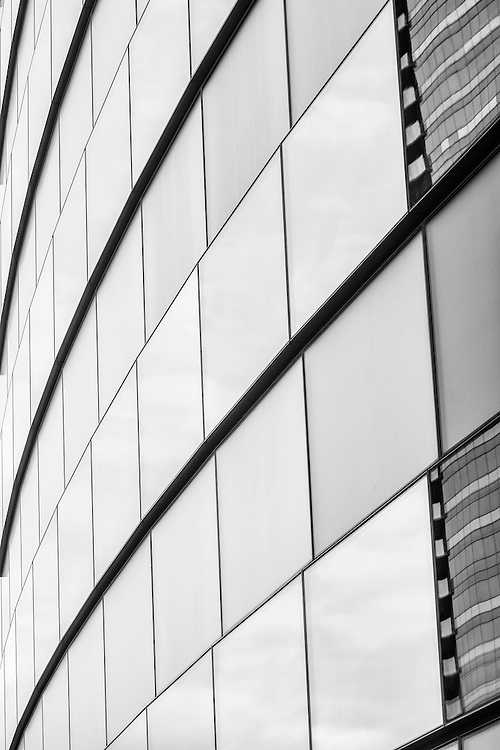 Abstract black and white architectural view of the lines of the windows on one of the newer Las Vegas hotels.