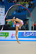 Soldatova Alexandra during final at ribon in Pesaro World Cup at Adriatic Arena on April 12, 2015. Alexandra was born in Pushkino on June 01,1998. She is a rhythmic gymnast member of the Russian National Team. Her nickname for the friends is Sasha.