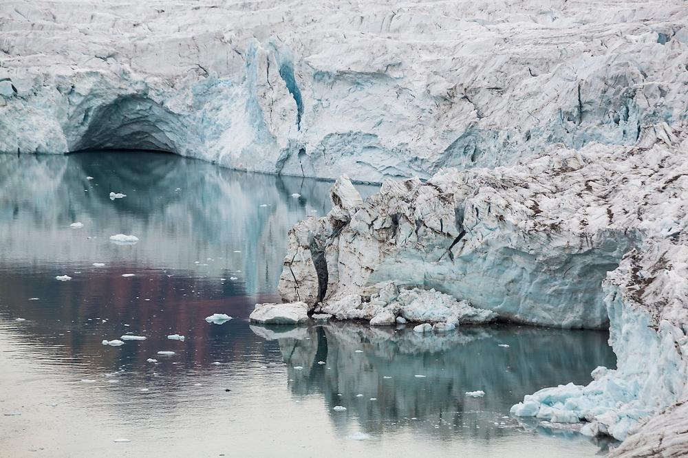 Detail of the calving terminus of Samarinbreen, a tidewater glacier in Hornsund, Svalbard.