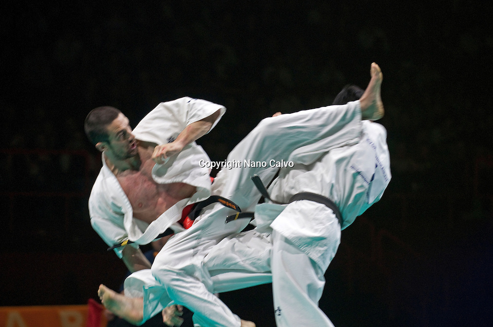 Kyokushinkai Karate International Tournament,  Bercy Pre-World Championship at Festival des Arts Martiaux de Bercy, Paris. <br /> <br /> One of the world's leading martial arts events that takes place at Paris' Palais Omnisports de Paris-Bercy. The Martial Arts Festival attracts more than 15,000 visitors annually and is an opportunity to explore the intricacies of Ninjutsu, Aikido, Karate, Kung Fu and many other arts.