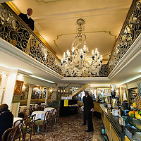 VENICE, ITALY - DECEMBER 02:  A general view inside the Caffe Lavena on December 2, 2011 in Venice, Italy.The Venetian coffee houses have a  long standing history, established at the beginning of 1700 around St. Mark Square have been the centre of cultural meeting and innovations for centuries and served customers like Dickens, Goethe, Casanova and Lord Byron.
