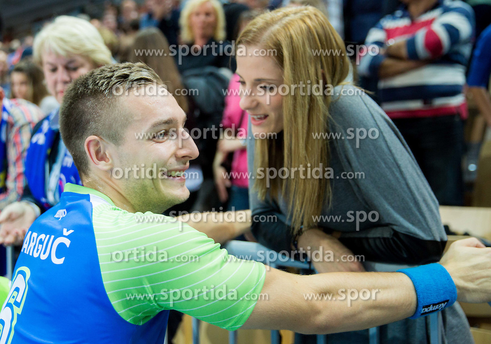 Gasper Marguc of Slovenia with his girlfriend after the handball match between National Teams of Slovenia and Slovakia in Qualification 2 of 2016 Men's European Championship, on October 29, 2014 in Arena Bonifika, Koper, Slovenia. Photo by Vid Ponikvar / Sportida