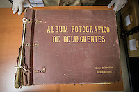 "A police album containing names and faces of government labelled ""delinquents"". Each photo inside represents a person who was processed by the former Guatemalan National Police. Many were later killed or disappeared during the civil war. Archivo Histórico de la Policía Nacional - Guatemala City"