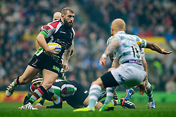 Harlequins Prop (#1) Joe Marler runs at London Irish Full Back (#15) Tom Homer during the first half of the match - Photo mandatory by-line: Rogan Thomson/JMP - Tel: Mobile: 07966 386802 29/12/2012 - SPORT - RUGBY - Twickenham Stadium - London. Harlequins v London Irish - Aviva Premiership - LV= Big Game 5.
