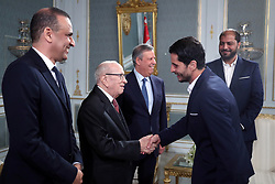 November 10, 2018 - Carthage, Tunisia - Handshake with the captain of (EST) Khalil Chamam .....The president of the republic Beji Caid Essebsi received at Carthage Palace the delegation of Esperance Sportive de Tunis (EST) after his victory by 3-0 against Al Ahly of Egypt in the final of the League of African CAF Champions Total (Credit Image: © Chokri Mahjoub/ZUMA Wire)