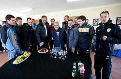 Denis Sabadin, Matjaz Krajnik, Miha Kosorog, Danilo Steyer,  Ivan Simic, Rok Plestenjak, Branko Vekic, Rok Tamse, Sandi Skvarc, Luka Petric, Ales Zavrl and Uros Stanic with a cake after the friendly match between Slovenian football journalists and officials of Slovenian football federation at  Hyde Park High School Stadium on June 16, 2010 in Johannesburg, South Africa.  (Photo by Vid Ponikvar / Sportida)
