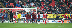 LONDON, ENGLAND - Saturday, March 5, 2011: Tranmere Rovers' players form a wall to prevent Charlton Athletic's Miguel Angel Llera from scoring during the Football League One match at The Valley. (Photo by Gareth Davies/Propaganda)