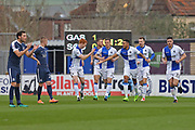 Bristol Rovers players celebrate Billy Bodins (23) fast goal 1-0 first half during the EFL Sky Bet League 1 match between Bristol Rovers and Southend United at the Memorial Stadium, Bristol, England on 11 March 2017. Photo by Gary Learmonth.