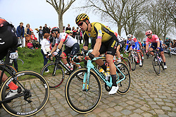 The peloton including Wout Van Aert (BEL) Team Jumbo-Visma on the Padderstraat during the 2019 Ronde Van Vlaanderen 270km from Antwerp to Oudenaarde, Belgium. 7th April 2019.<br /> Picture: Eoin Clarke | Cyclefile<br /> <br /> All photos usage must carry mandatory copyright credit (© Cyclefile | Eoin Clarke)