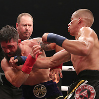 TAMPA, FL - JUNE 22: Abdiel Velazquez (R) punches Travis Thompson during the Bare Knuckle Fighting Championships at Florida State Fairgrounds Entertainment Hall on June 22, 2019 in Tampa, Florida. (Photo by Alex Menendez/Getty Images) *** Local Caption *** Abdiel Velazquez; Travis Thompson