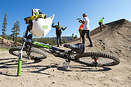 Cam works with his filmer while making adjustments to the jump during the Day in the life of Cam Zink as he prepares for the Mammoth Backflip for World of X Games at Mammoth Mountain, CA. © Brett Wilhelm