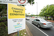 Changed Traffic Conditions Road Sign. Festival Stock Images. 2012 Ironman Cairns Triathlon. Cairns, Queensland, Australia. 2/06/2012. Photo By Lucas Wroe.