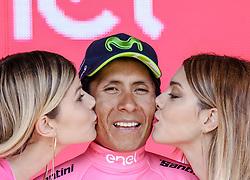 26.05.2017, Piancavallo, ITA, Giro d Italia 2017, 19. Etappe, Innichen (San Candido) nach Piancavallo, im Bild der neue Träger des Rosa Trikots, Maglia Rosa, Nairo Quintana (COL, Team Movistar) bei der Siegerehrung // new pink jersey Nairo Quintana (COL, Team Movistar) celebrates on podium after the 19 th stage of the 100 th Giro d Italia cycling race from Innichen (San Candido) to Piancavallo, Italy on 2017/05/26. EXPA Pictures © 2017, PhotoCredit: EXPA / Martin Huber
