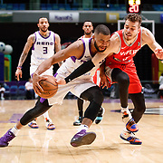 Reno Bighorns Guard AARON HARRISON (1) drives against Rio Grande Valley Vipers Guard RJ HUNTER (3) during the NBA G-League Basketball game between the Reno Bighorns and the Rio Grande Valley Vipers at the Reno Events Center in Reno, Nevada.