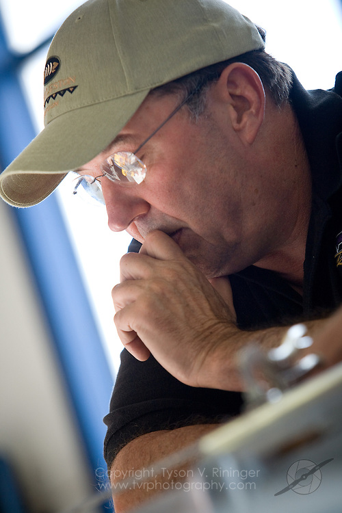 Crew Chief for the 2009 Rare Bear team, Dave Cornell, discusses improvements made to the highly modified F8f Bearcat prior to the Reno Air Racing Championship held at Stead Field near Reno, NV.
