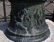 Nautical theme on a decorative relief on a lamppost in the Piazzetta di San Marco, Venice