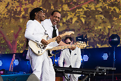© Licensed to London News Pictures. 21/06/2015. London, UK.  Chic featuring Nile Rogers performing at Hyde Park supporting headliner Kylie Minogue as part of the British Summer Time series of entertainment and music events and concerts held at Hyde Park Photo credit: Richard Isaac/LNP